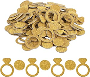 Haley Party Gold Diamond Ring Bachelorette Party Confetti Bride Confetti Engagement Party Decorations for Wedding Bridal Shower Engagement Bachelorette Party Favor Decor and Table Decor (1.2 Inches, Double-sided, 200PCS)