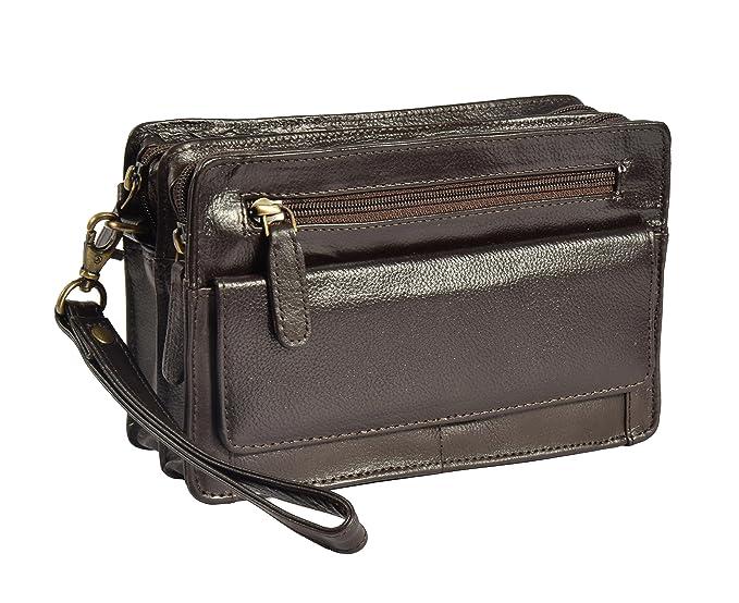 e03cc86b517 Mens Genuine Leather Wrist Bag Clutch Travel Money Mobile Cab Organiser Mens  Handbag A210 Brown  Amazon.co.uk  Clothing