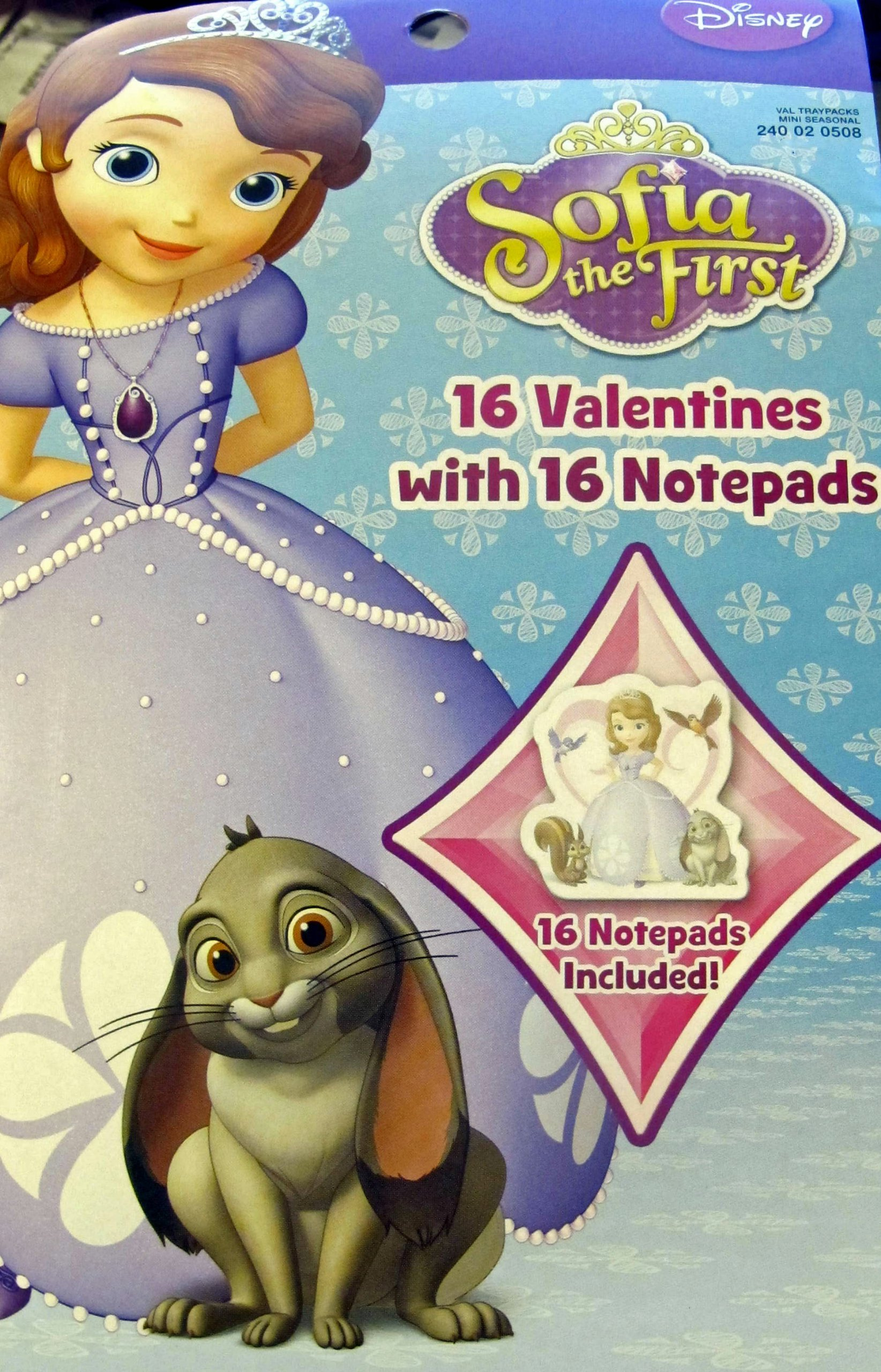 16 Sofia the First Valentines with 16 Notepads by Disney (Image #1)