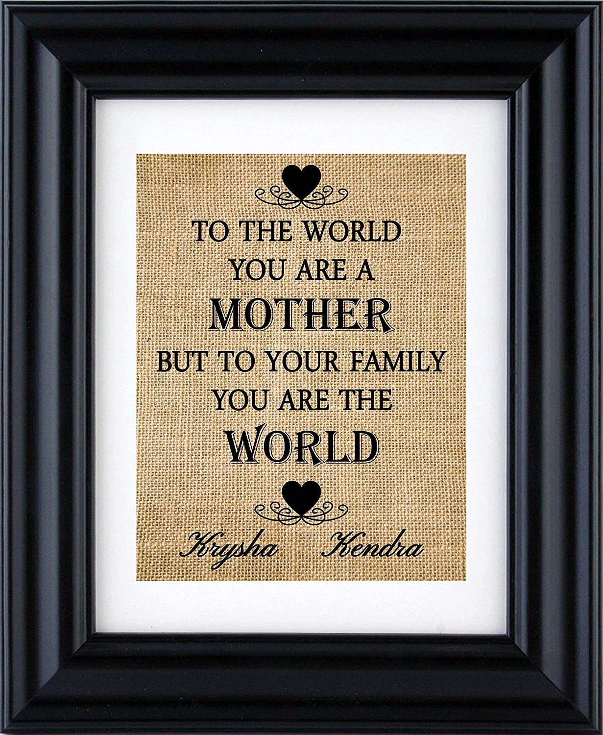 Handmade banner Beads Hessian flowers To the world you are a mother but to our family you are the world Mother\u2019s Day gift