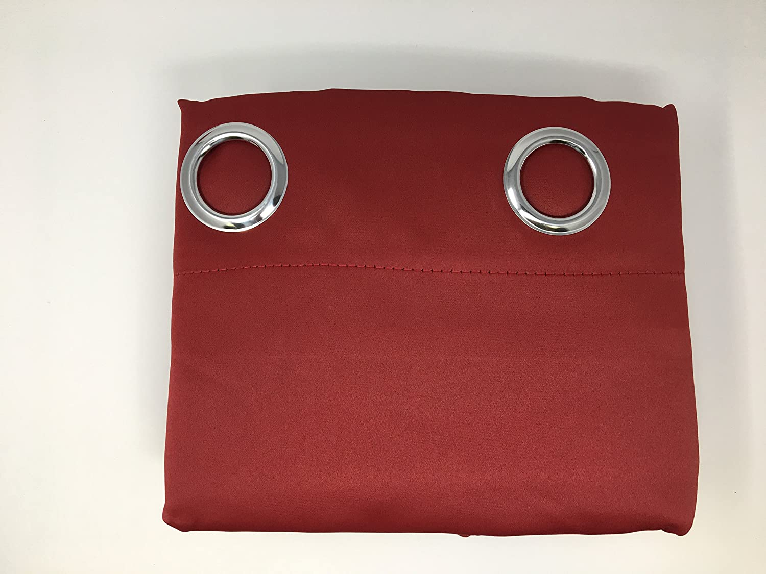 All American Collection New 2 Panel Curtain Set Solid Machine Woven Blackout with 8 Grommets Red Burgundy