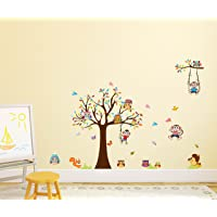 Amazon Brand - Solimo Wall Sticker for Kids' Room (Monkeys & Owls, Ideal Size on Wall, 155 cm X 110 cm)