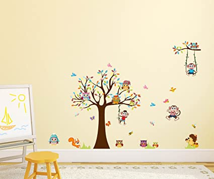 Amazon Brand - Solimo Wall Sticker for Kids Room (Monkeys & Owls, Ideal Size on Wall, 155 cm X 110 cm)