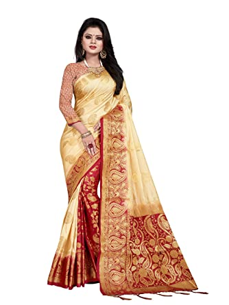 C J Enterprise Women s Off White Kanjivaram Art Silk Saree With Blouse 1bdb55bcee