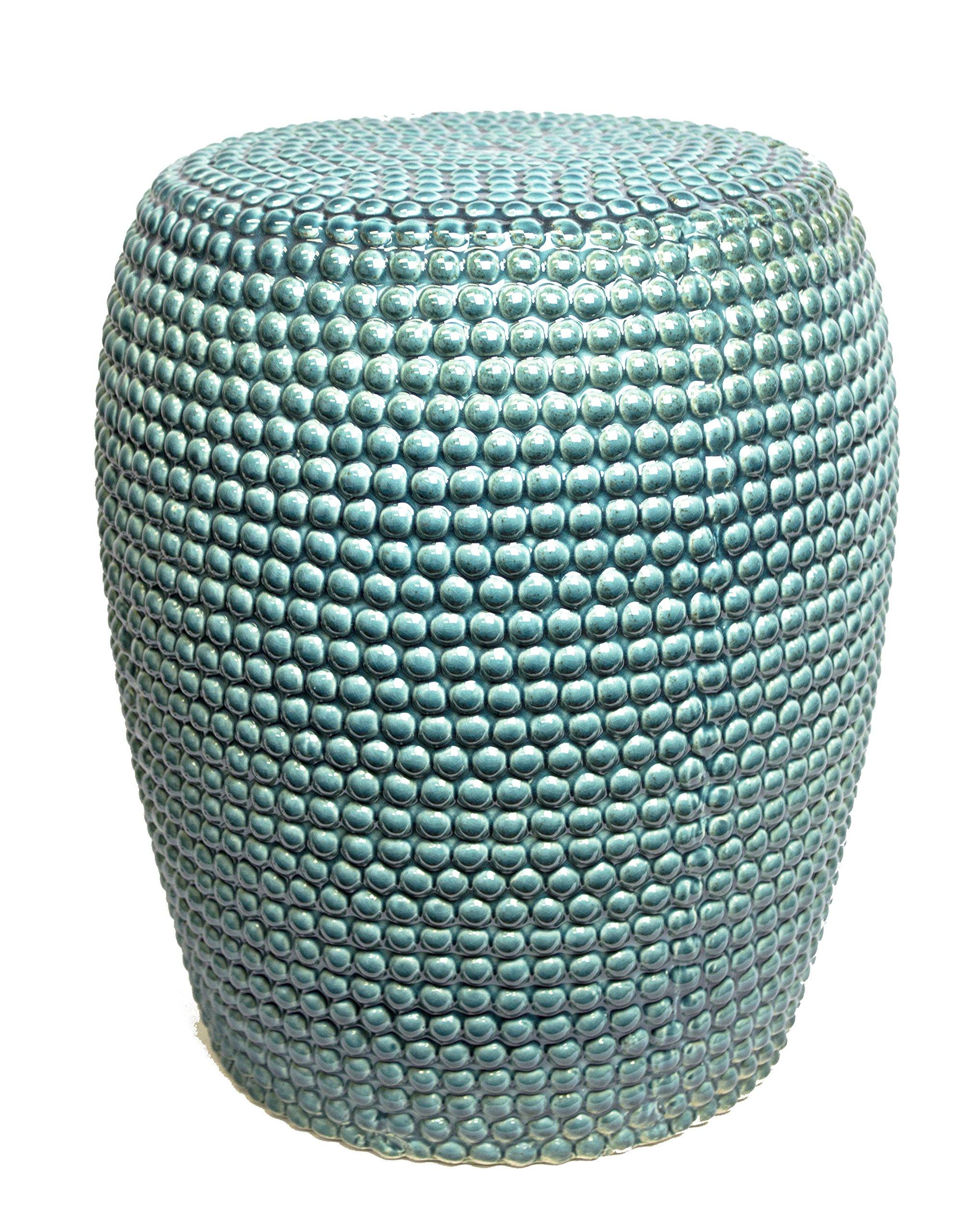 Sagebrook Home FC10247-01 Bead Texture Ceramic Garden Stool, Teal Ceramic, 15 x 15 x 18.5 Inches by Sagebrook Home