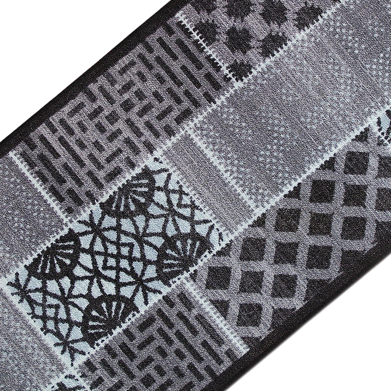 Casa pura Teppichläufer mit Modernem Muster in brillianten Farben   Hochwertige Meterware, gekettelt   Kurzflor Teppich Läufer   Küchenläufer, Flurläufer (80x350 cm)