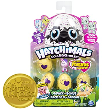 Hatchimals CollEGGtibles Season 3, 4-Pack + Bonus (Styles & Colors May Vary)