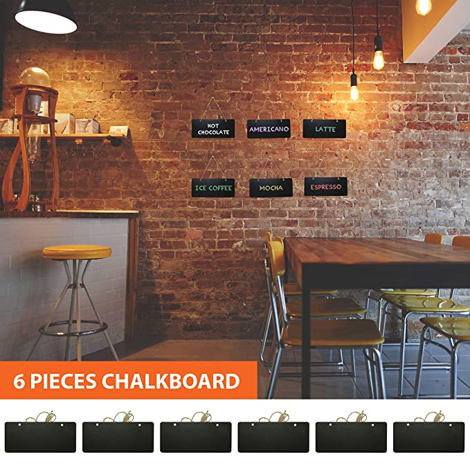 Chalkboard Hanging Signs Erasable Wood Rectangle Small Vintage Rustic Blackboard Message Memo Display for Wedding, Bar, Restaurant, Kitchen Pantry & ...