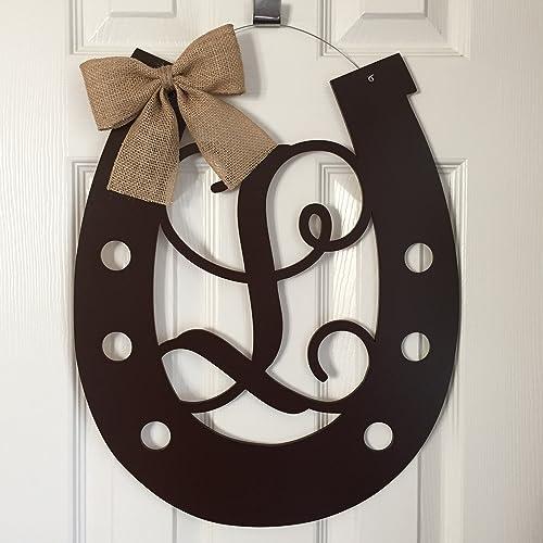 Etonnant Monogram Horseshoe Door Hanger   Horse Shoe Door Hanger   Horseshoe Wreath    Country Door Hanger