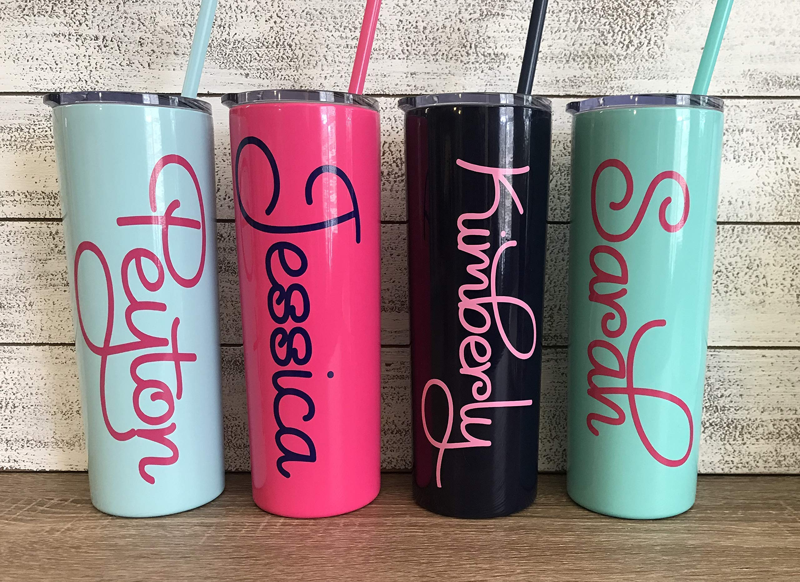Bachelorette Includes Straw and Lid Bridal Party Gifts Bridesmaid Personalized 22 oz Stainless Steel Tumbler with Custom Monogram Vinyl Decal by Avito
