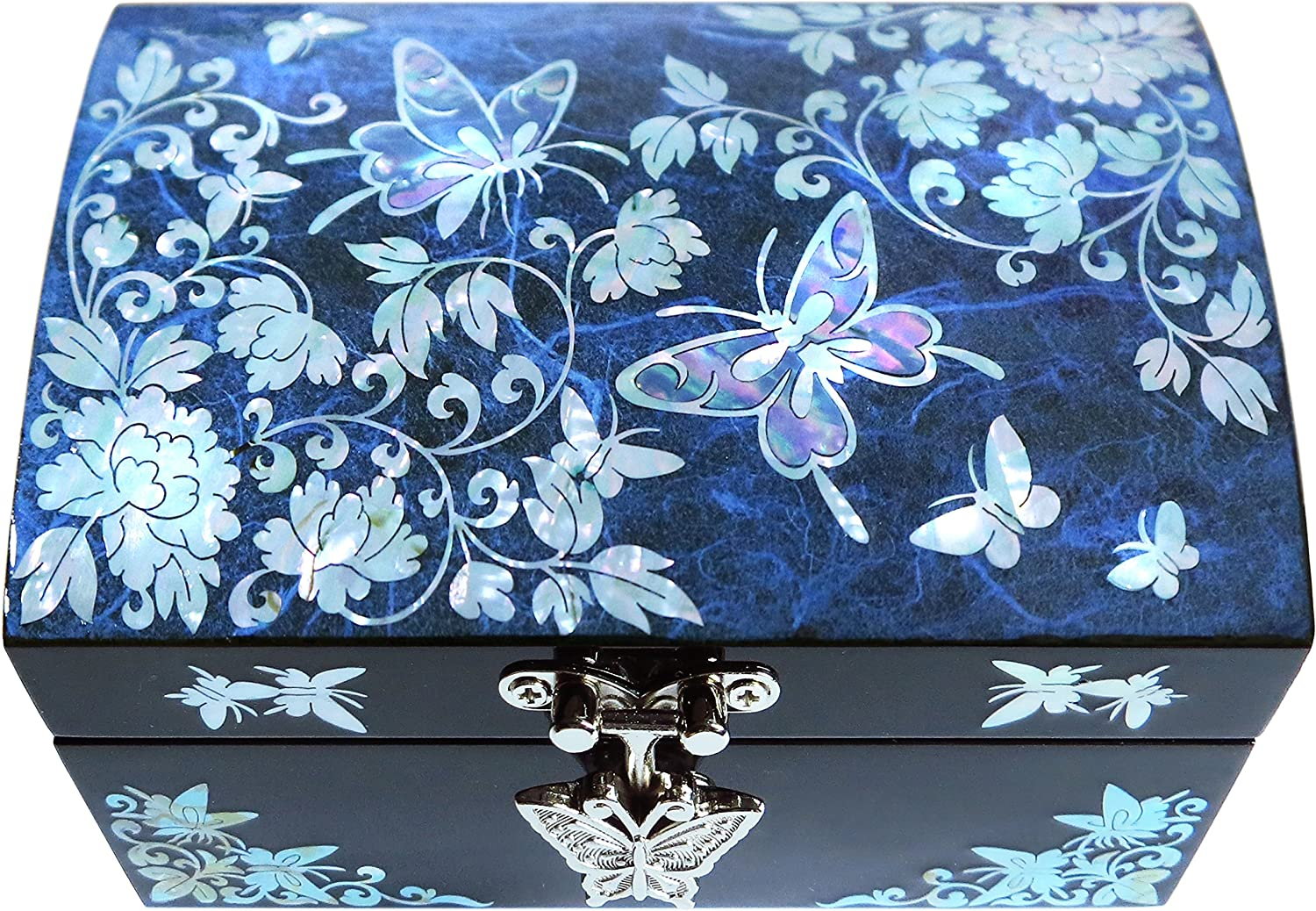MADDesign Mother of Pearl Jewelry Box Ring Organizer Mirror Lid Butterfly Blue