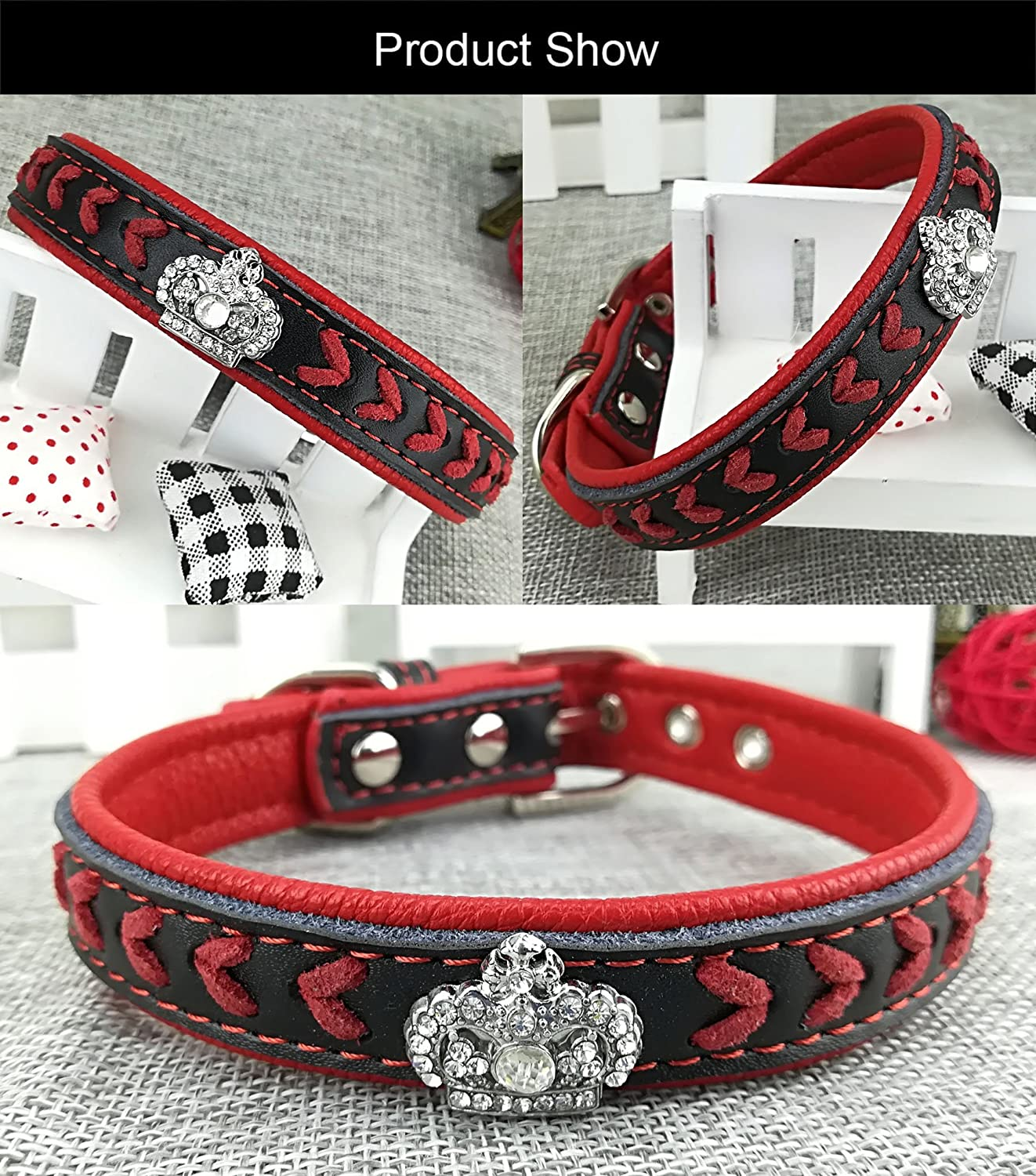 XL Newtensina Dog Collar and Lead Set Nylon Straps Woven Bling Collar Leather Diamante Puppy Collar with Leash for Dogs Red