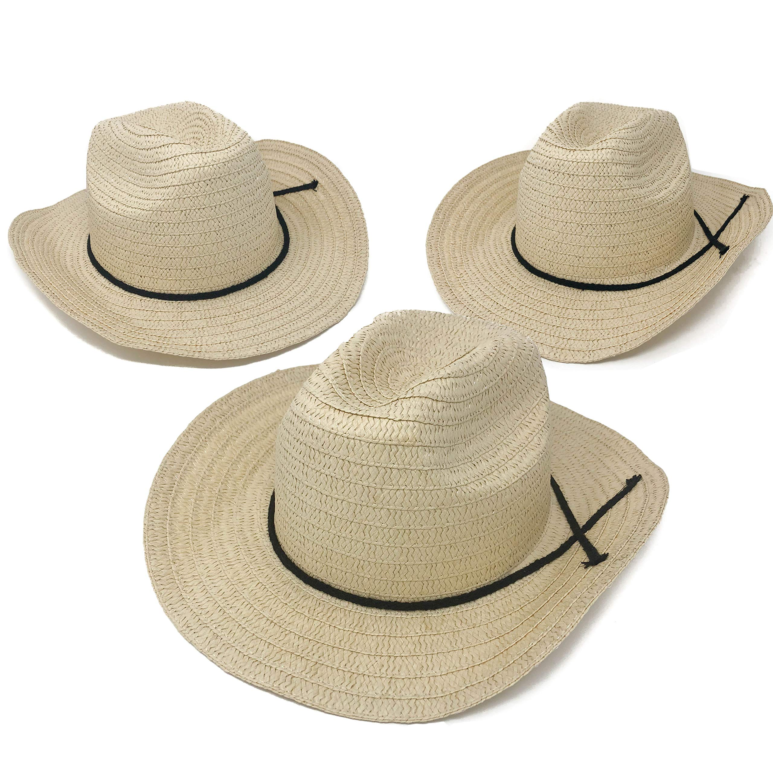 12 Piece Cowboy Hats - Adult Western Straw Hats with Band for Western Theme Party