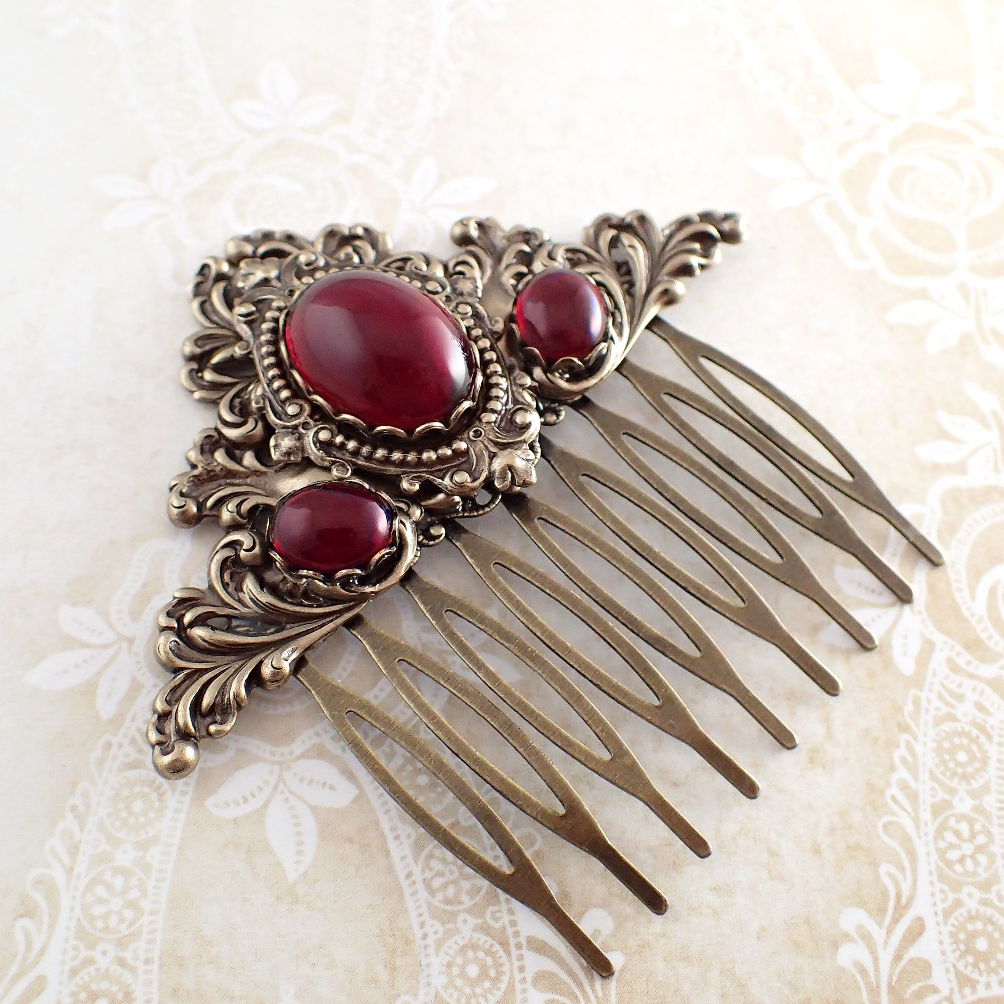 Victorian Gothic Style Red Cabochon Hair Comb