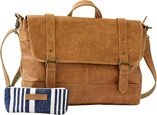 Genuine Leather Messenger Laptop Briefcase 16.5 Vintage Shoulder Bag, Canvas Leather Free Gift Included Multi Purpose Use