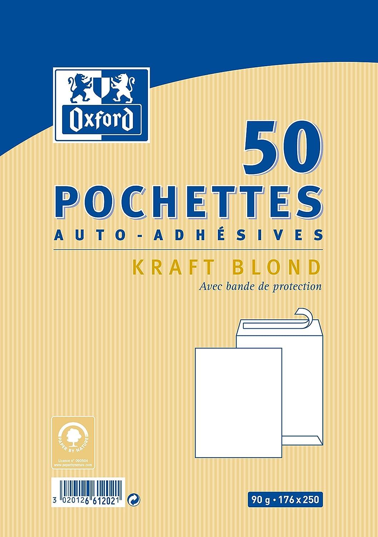 Oxford Correspondance 100103577 Pochettes auto adh/ésives Pack de 25 Kraft brun