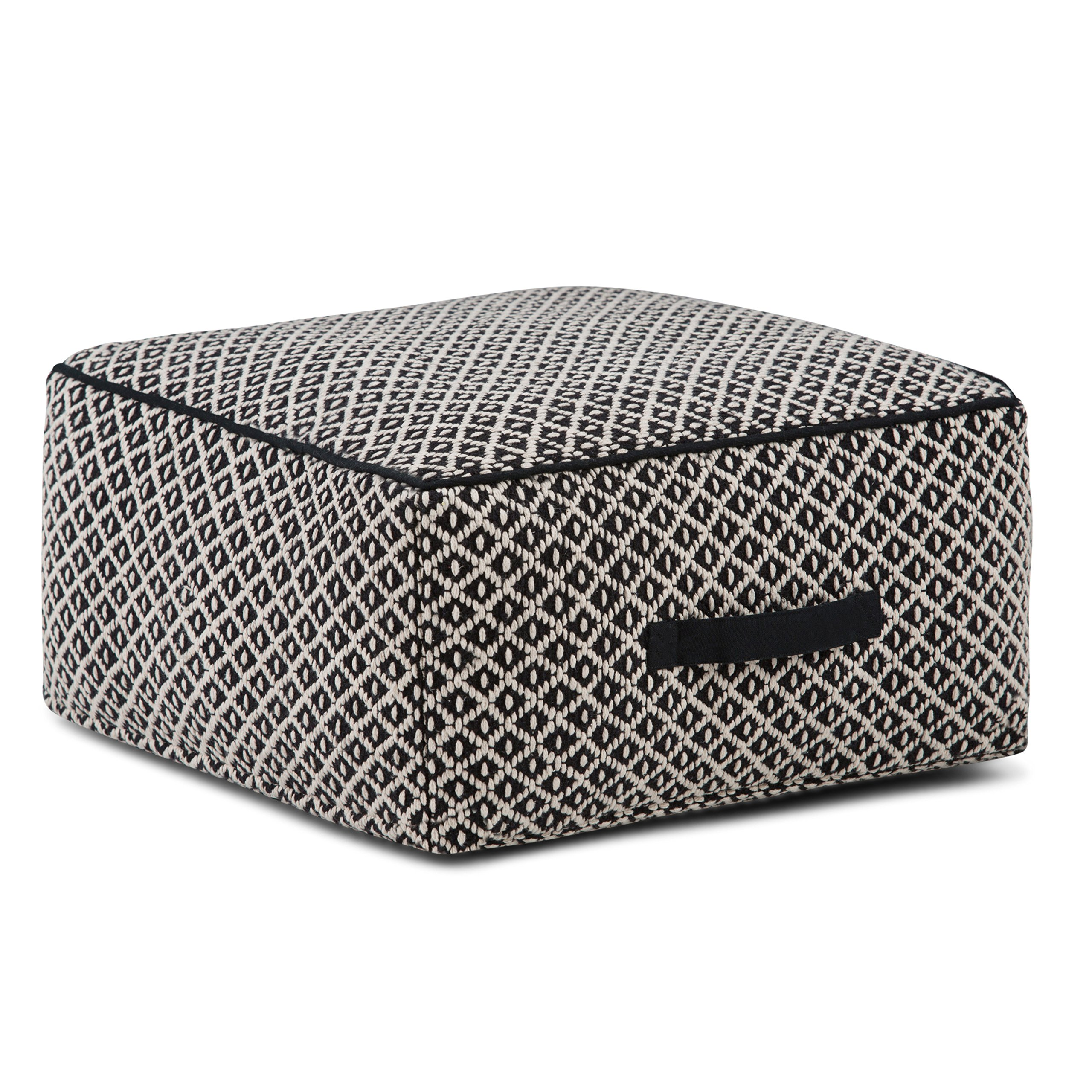 Simpli Home Olsen Square Pouf, Patterned Black and Ivory