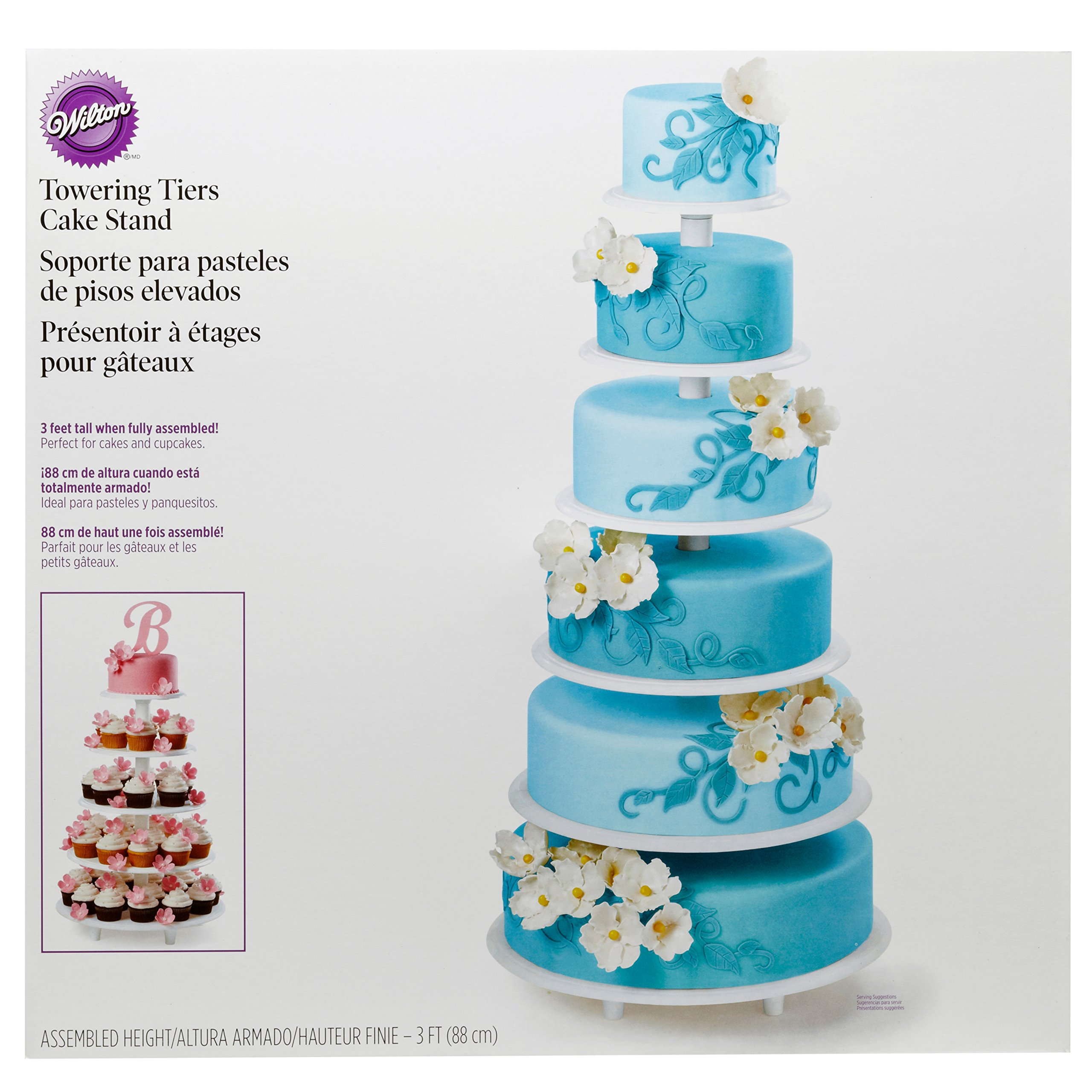 Wilton Towering Tiers Cupcake and Dessert Stand, Great for Displaying Cupcakes, Danishes and Your Favorite Hors d'Oeuvres, White, 3-foot, 28-Piece by Wilton (Image #2)