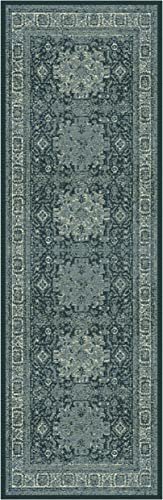 Superior Tatum Collection Area Rug, 10mm Pile Height with Jute Backing, Fashionable and Affordable Rugs, Vintage Oriental Kazak Rug Design – 2 7 x 8 Runner, Blue and Grey