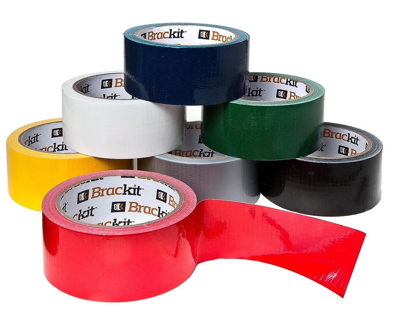 Brackit 15m x 48mm, set di 7rotoli di nastro adesivo (blu, bianco, grigio, rosso, giallo, verde e nero) | nastro adesivo multi pack per arti e mestieri, bricolage Allkit