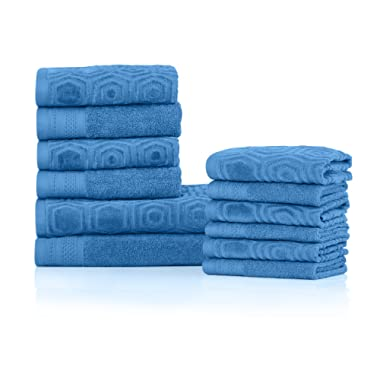 Superior's 100% Cotton 500 GSM, Plush, Absorbent, and Durable Honeycomb Jacquard and Solid 12-piece Towel Set- Azure