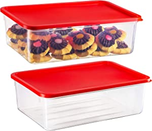 2 Pack - Zilpoo Plastic Food Storage Containers with Lid, Refrigerator, Freezer Covered Cake Keeper, Cupcake Carrier, Cookie Holder, Lunch Box, 169 oz.