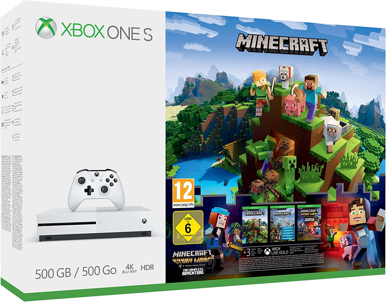 Xbox One S 9GB Console - Minecraft Complete Adventure Bundle