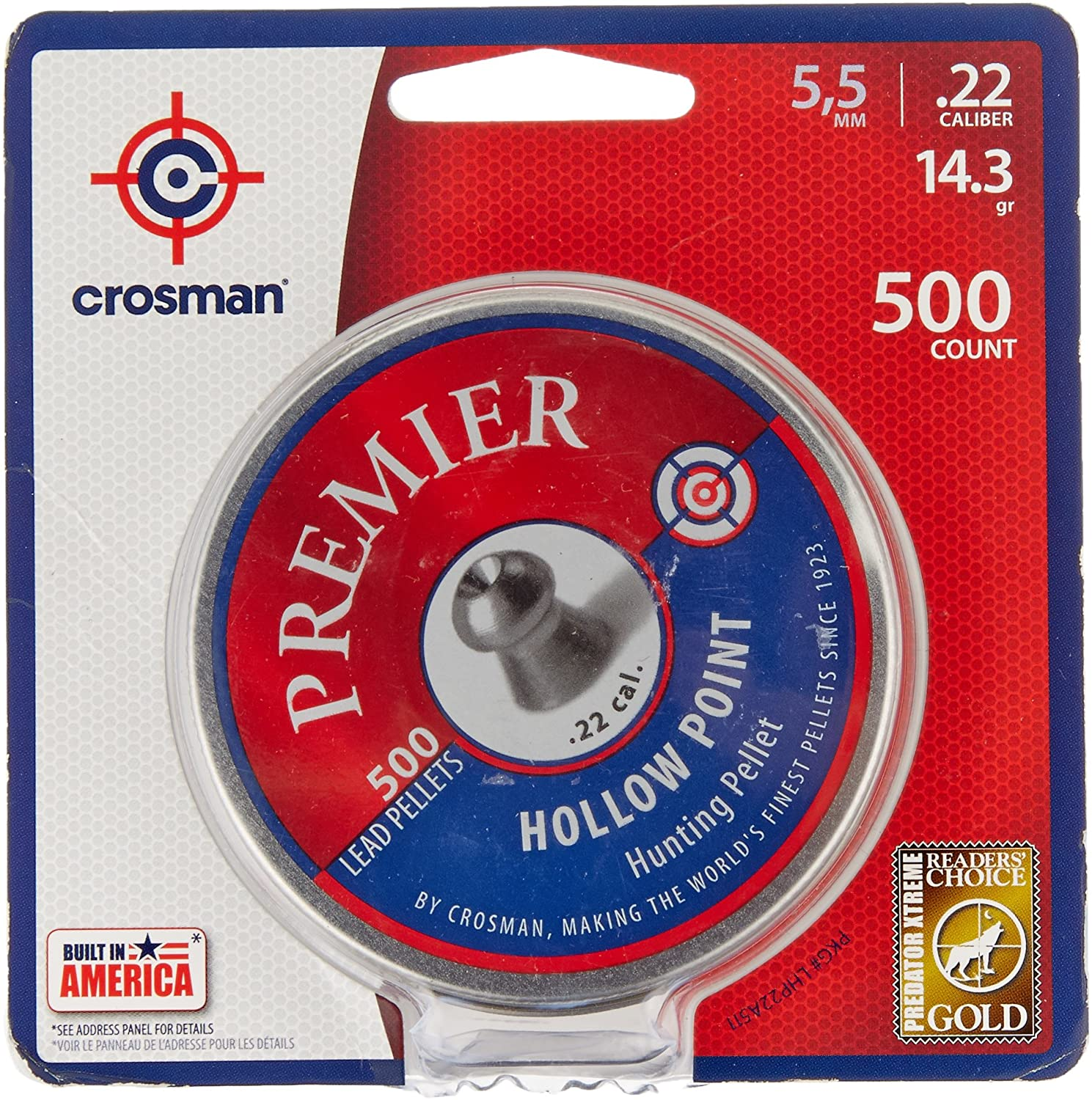 Crosman Premier Hollow Point Pellet Best .22 Caliber Pellet for Hunting