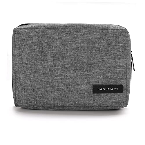 BAGSMART Small Travel Electronics Cable Organizer Bag for Hard Drives, Cables, USB Cable, SD Card (Grey)
