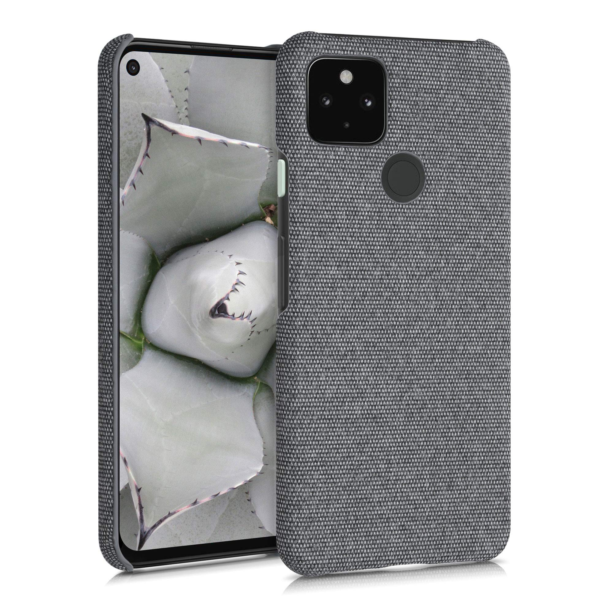 kwmobile Case Compatible with Google Pixel 4a 5G - Fabric Protective Canvas Back Cover - Grey
