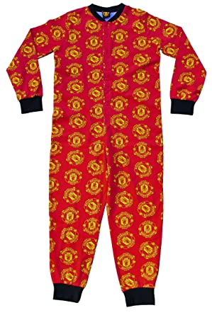 b12a60a2c Manchester United Onesie 7 to 13 Years Man United Sleepsuit All in one  Pyjamas red  Amazon.co.uk  Clothing