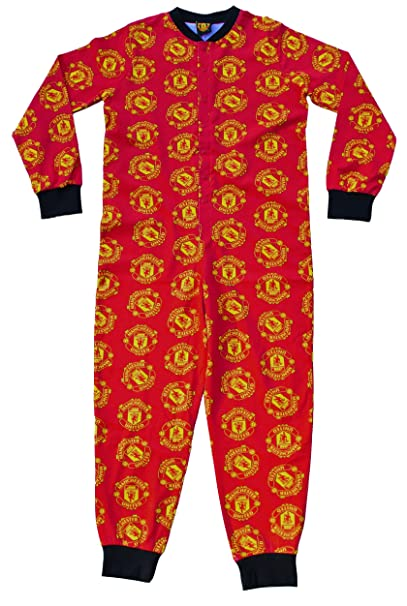 Manchester United FC Official Football Merchandise Kids Pyjama All-In-One Fleece