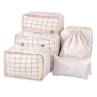 Vercord 6 Set Mesh Packing Cubes And Storage Bags Pack Travel Durable Luggage Organizers, Beige
