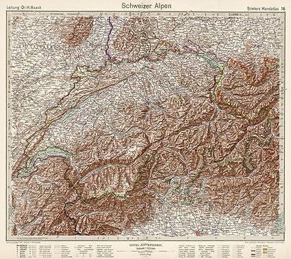 Amazon.com: Historic Map | Schweizer Alpen. Swiss Alps, 1925 World ...