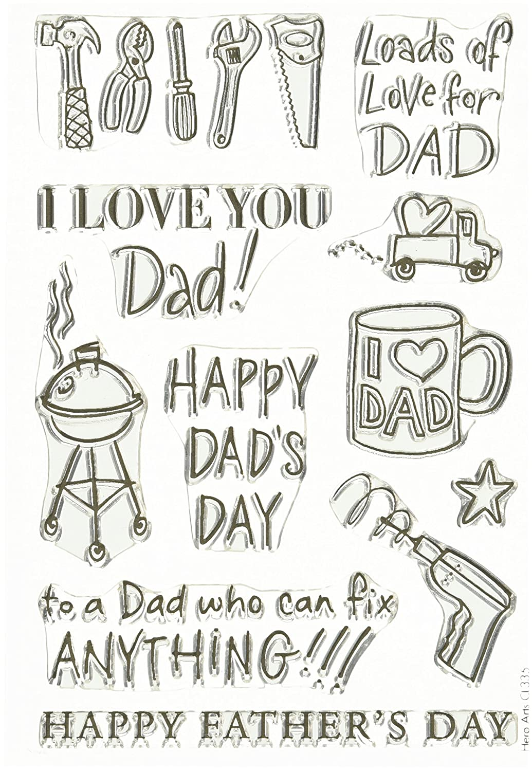 Hero Arts CL335 Happy Dads Day Stamp Set Clear