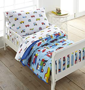 Wildkin 4 Piece Toddler Bed-in-A-Bag, 100% Cotton Bedding Set, Includes Comforter, Flat Sheet, Fitted Sheet, and Pillowcase, Certified Oeko-TEX Standard 100, Coordinates with Other Room Décor