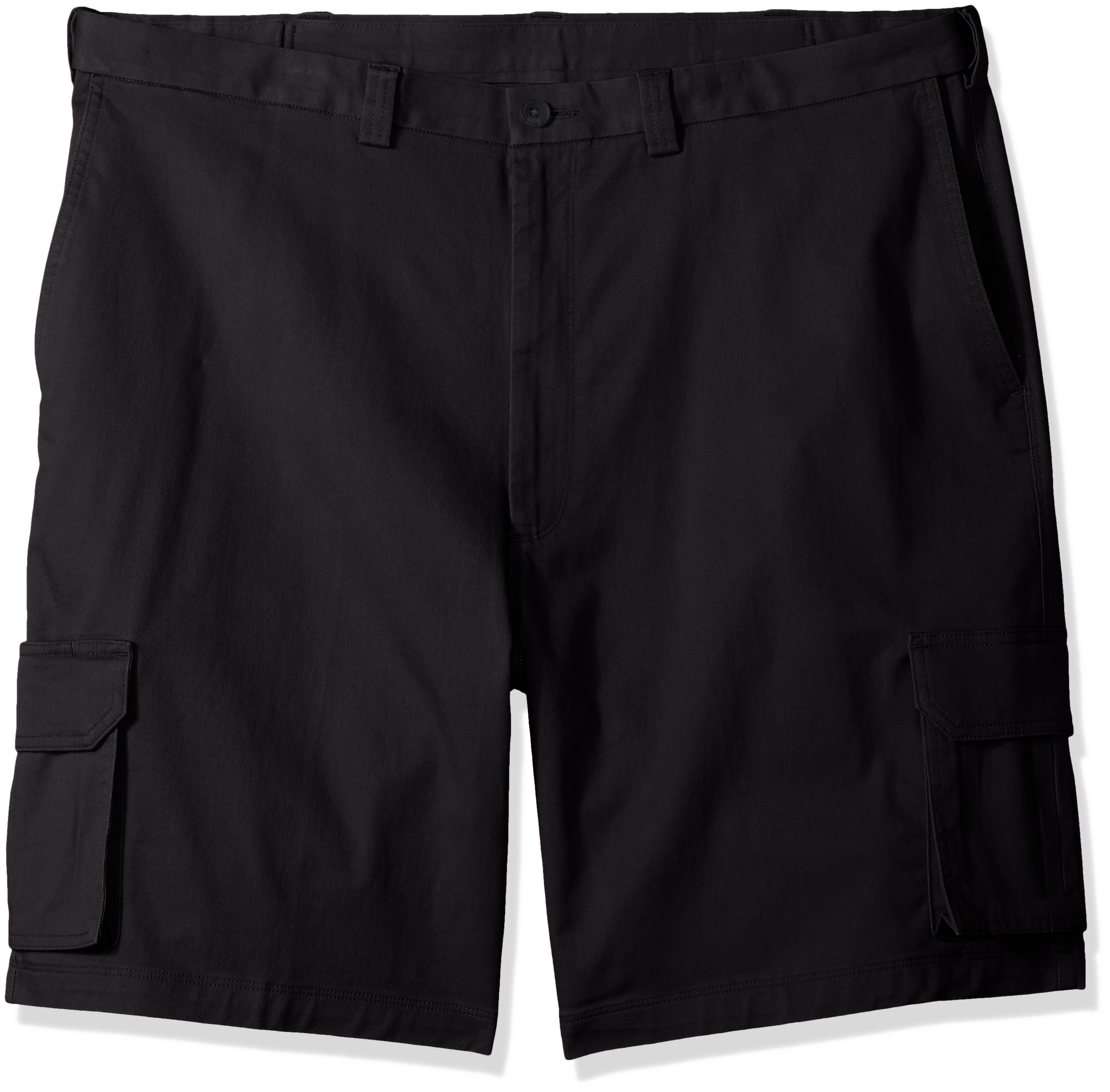 Haggar Men's Big and Tall Stretch Comfort Cargo Flat Front Short, Black 54