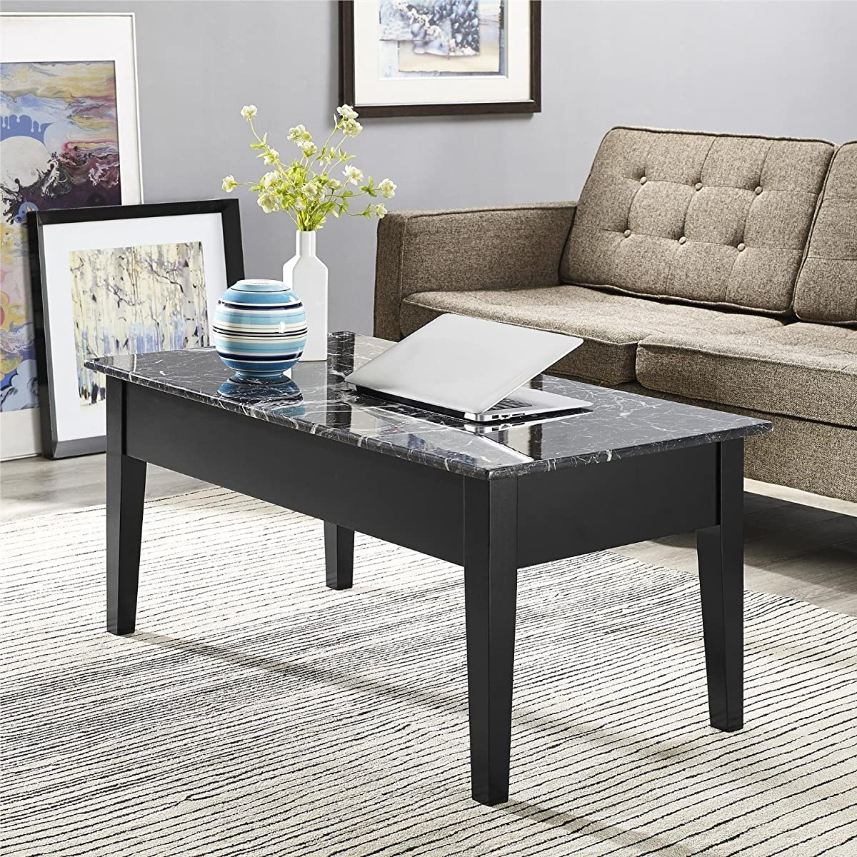 Dorel Living Faux Marble Lift Top Storage Coffee Table, Black