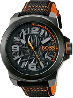 HUGO BOSS Orange Men s  NEW YORK  Quartz Resin and Canvas Casual Watch 09c3cfc4f5a