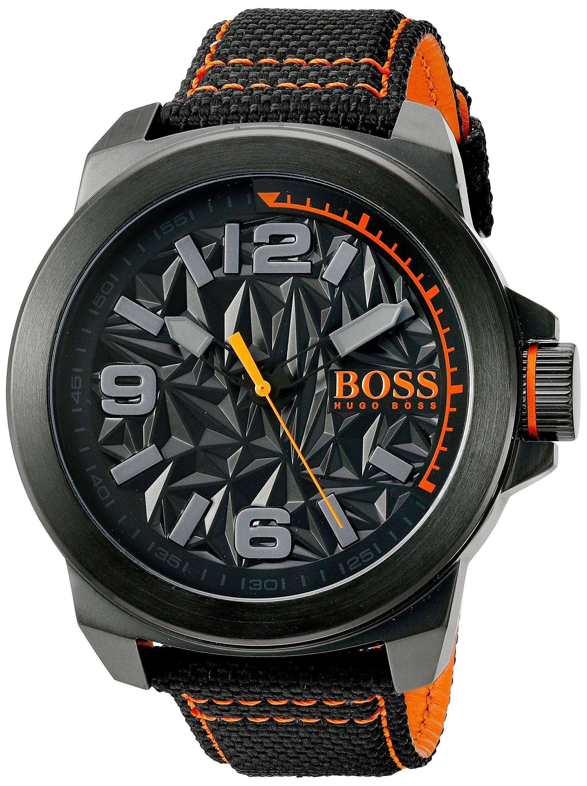 BOSS Orange Men's 'New York' Quartz Resin and Canvas Casual Watch, Color:Black (Model: 1513343)
