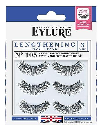 f62e1eafa5f Amazon.com : Eylure Lengthening False Eyelashes Multipack, Style No. 115 or  105, Reusable, Adhesive Included, 3 Count : Beauty