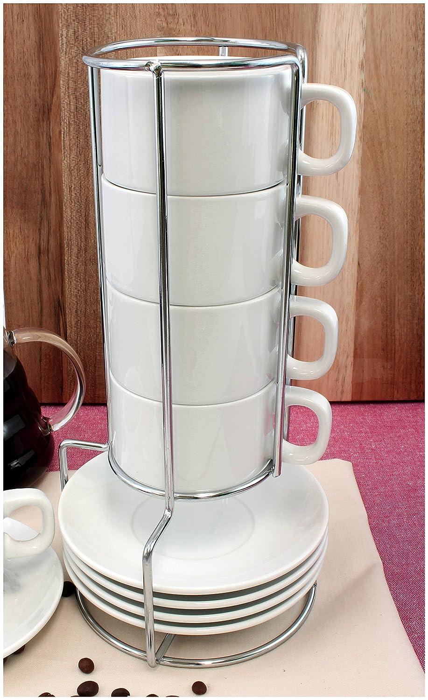 Amazon.com | White Ceramic Stackable Coffee and Espresso Cup Set ...