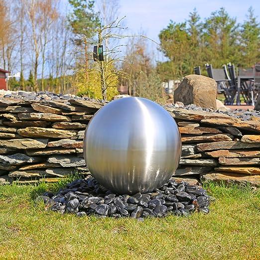 CLGarden Grande bola decorativa de acero inoxidable para la construcción de una fuente de jardín, DIY, cepillado mate con diámetro 48cm, juguetes de agua de exterior: Amazon.es: Jardín