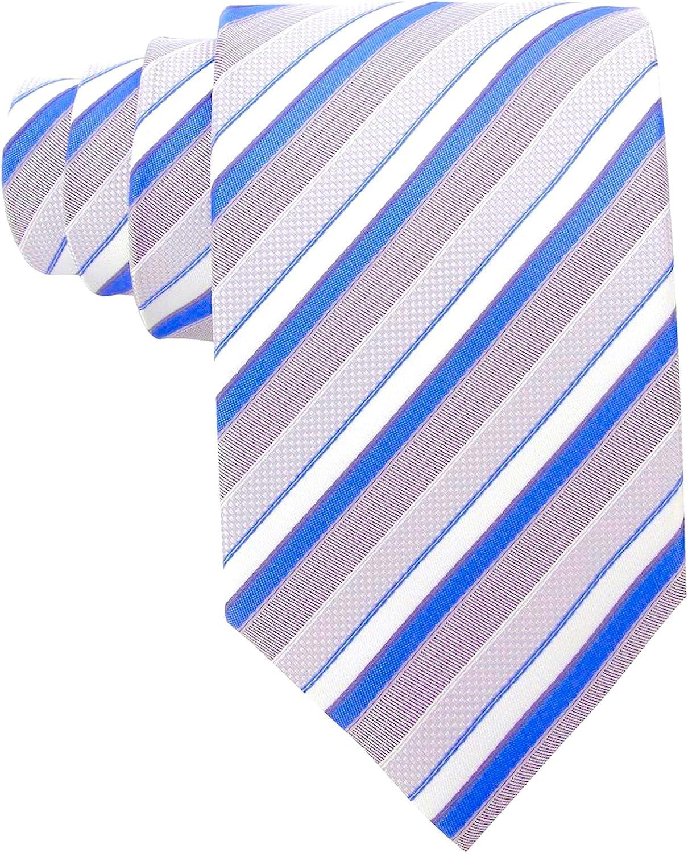 SMART GENTS TIE /> Classic Stripe Mens Striped Silk Formal Work Necktie Grey Blue