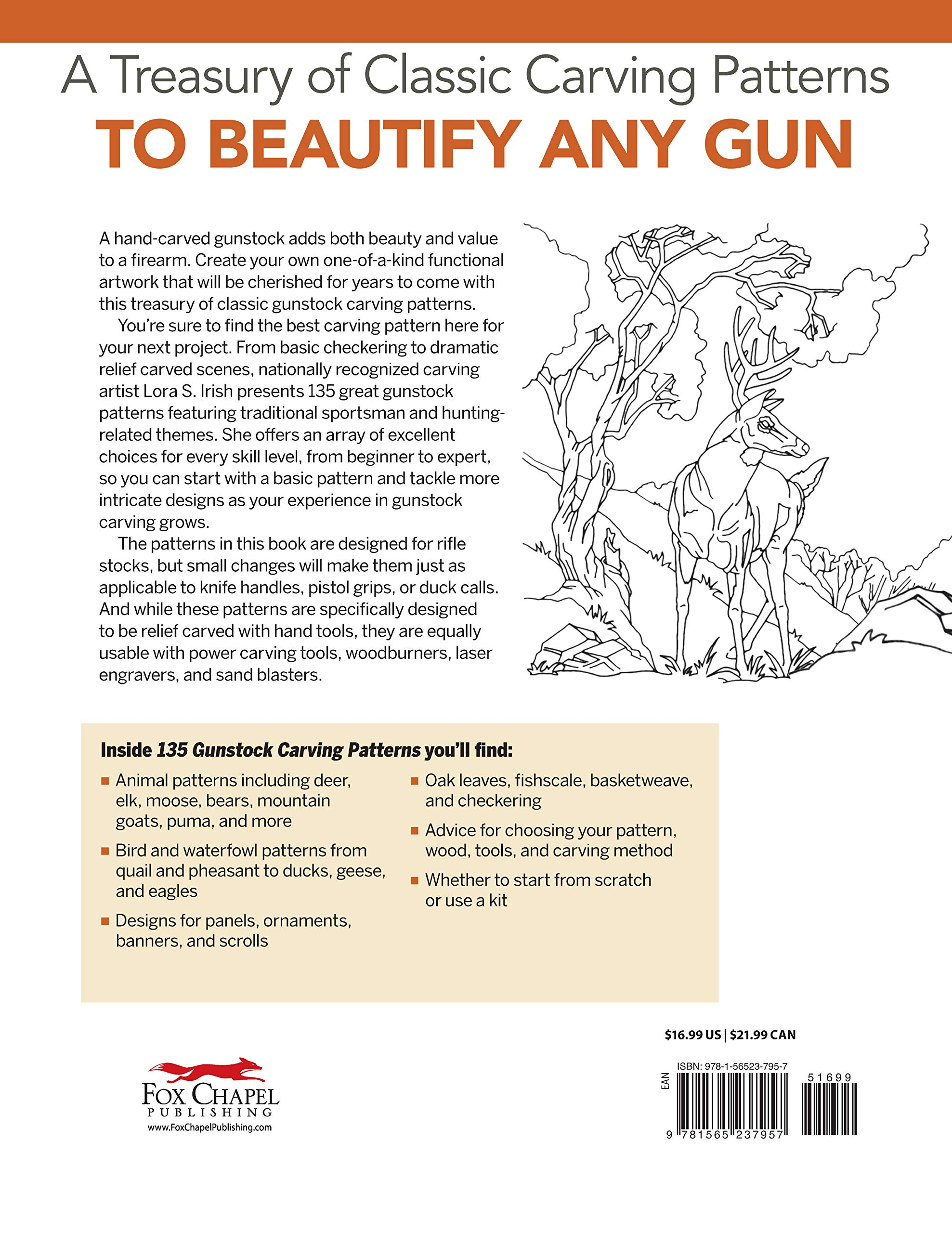 135 Gunstock Carving Patterns (Fox Chapel Publishing) A