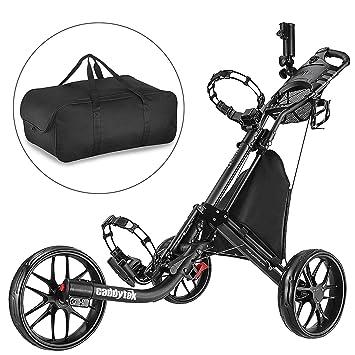 CADDYTEK Facil-plegable Carrito de golf 3 Rueda empuje cart con bolsa de almacenamiento, gris oscuro: Amazon.es: Deportes y aire libre