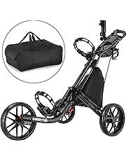 CADDYTEK Facil-plegable Carrito de golf 3 Rueda empuje cart con bolsa de almacenamiento,