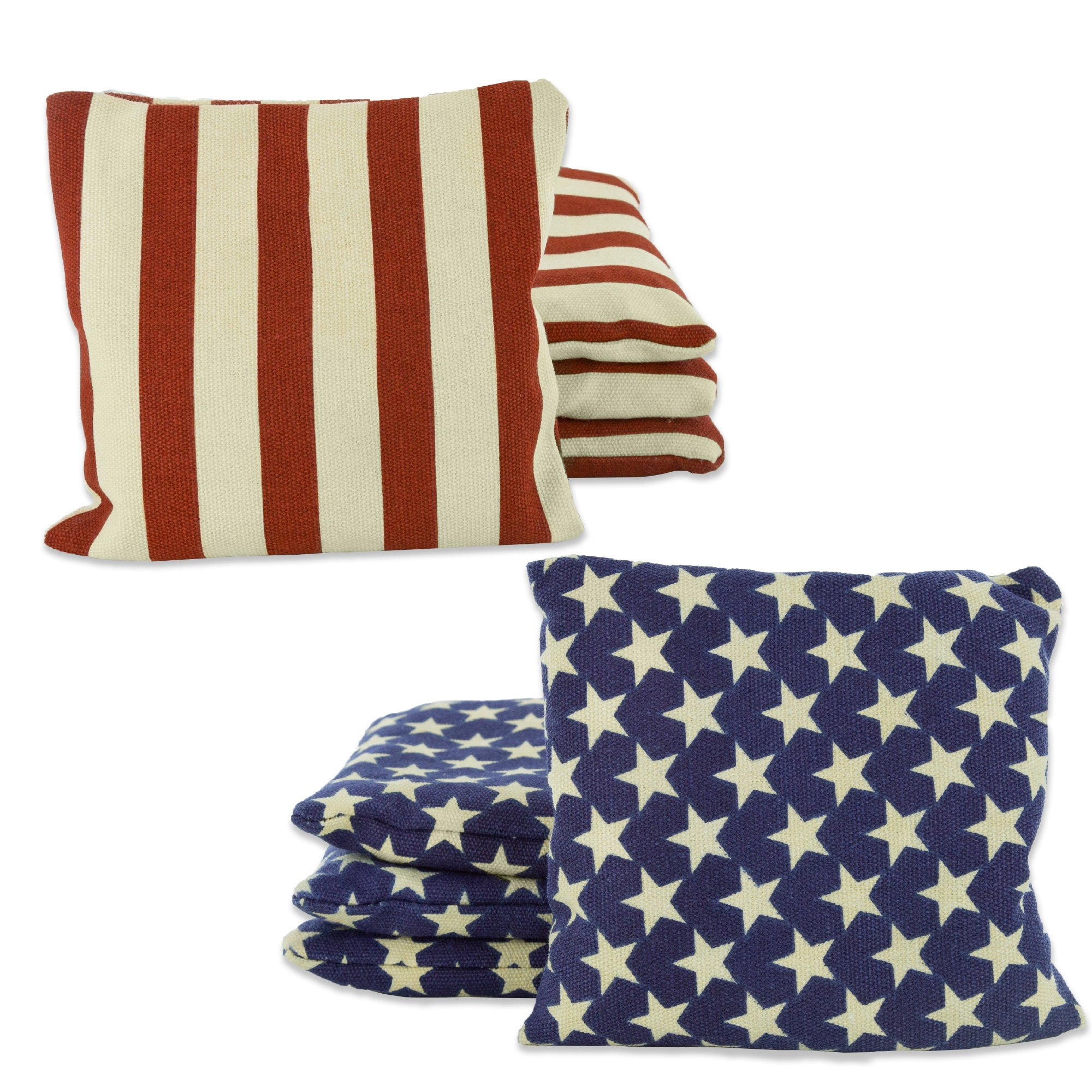 Weather Resistant Cornhole Bean Bags Set of 8 - Duck Cloth - Regulation Size & Weight - Stars and Stripes by Barcaloo