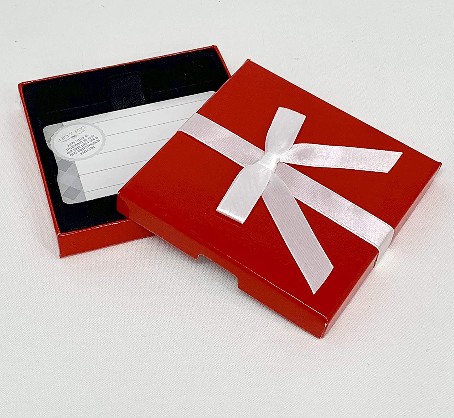 Gift Card Holder - Gift Card Box, Red white Ribbon Box, Great for Christmas Gift Cards, Pack of 3 Bodima