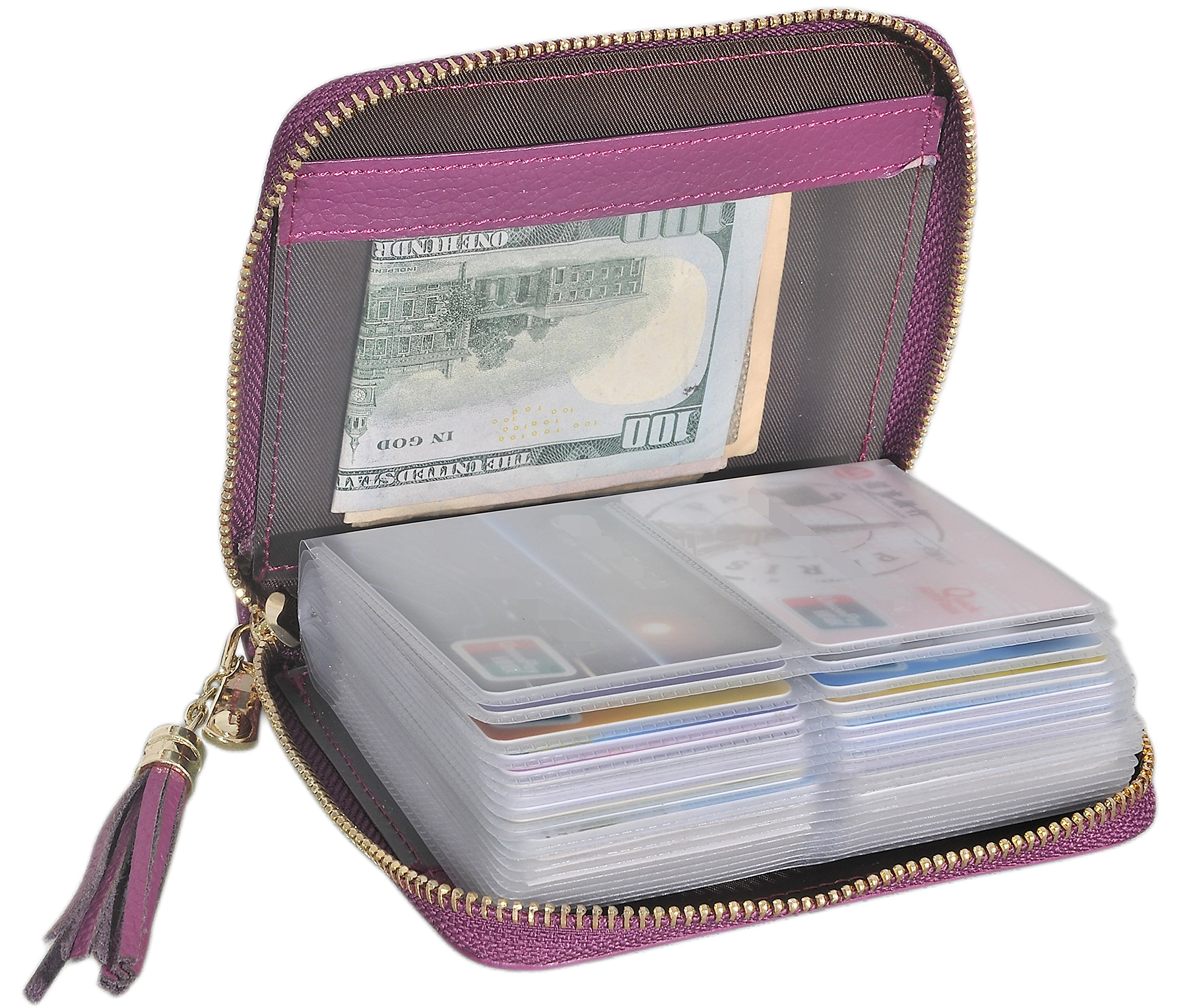 Easyoulife Womens Credit Card Holder Wallet Zip Leather Card Case RFID Blocking (Purple)